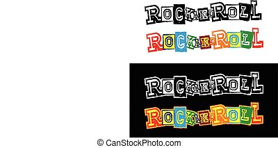 lettering rock and roll - Vector illustration grunge...