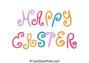 lettering, rodar, páscoa, colorido, feliz