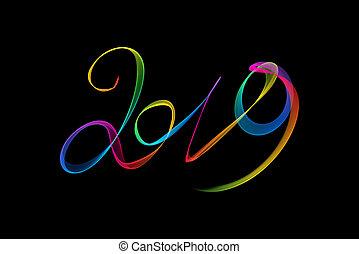 lettering, rook, vuur, vrijstaand, nieuw, vlam, geschreven, black , getallen, achtergrond, jaar, 2019, of, vrolijke