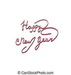 lettering, saudação, ano, novo, cartão, feliz