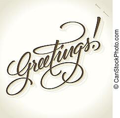 lettering, saudações, (vector), mão