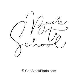 lettering, school, kalligrafie, study., text., back, illustratie, hand, vector, ontwerp, getrokken, frase, opleiding, inspiratie