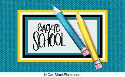 lettering, school, mal, back, illustratie, hand, vector, ontwerp, potloden, etiket, spandoek, gebeurtenis