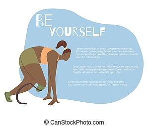 lettering, ser, corredor, perna, text., protético, apartamento, você mesmo, lugar, ilustração, start., menina, desporto, bandeira, maratona
