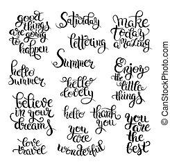 lettering, set, calligraphic, overhandiig geschrijvenene,...