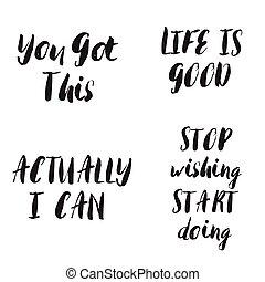 lettering, set., motivational, quotes., frases