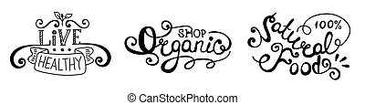 Lettering set. Organic food, live healthy, natural food.