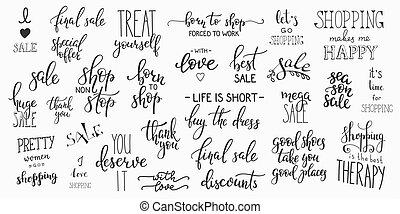 Lettering,  Set, shoppen, Detailhandel