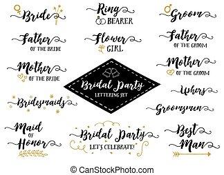 lettering, set, uitdrukkingen, hand, vector, feestje, bridal