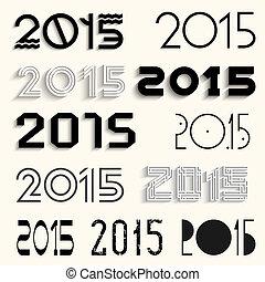 lettering, set, vector, ontwerp, 2015, gevarieerd