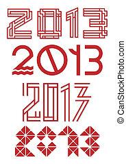 lettering, set, vector, ontwerp, gevarieerd, 2013