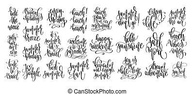 lettering, set, zomer, tekst, hand, ontwerp, 25, vakantie, inscripties