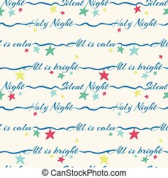 lettering, silencioso, santissimo, padrão, seamless, superfície, stars., holidays., vetorial, desenho, noturna, coloridos, natal