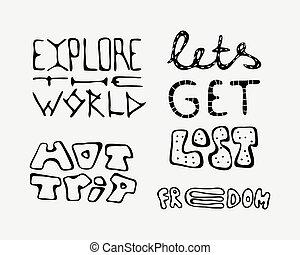 lettering, slogans, set, het reizen, tekst