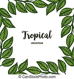 Lettering summer tropical with bright green leaves and floral frame. Vector