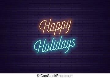 lettering, tekst, neon, holidays., gloeiend, vrolijke