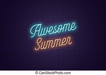 lettering, tekst, ontzagwekkend, neon, gloeiend, summer.