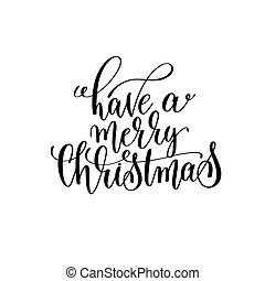 lettering, ter, citação, mão, feliz, positivo, natal