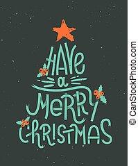 lettering, ter, feliz natal
