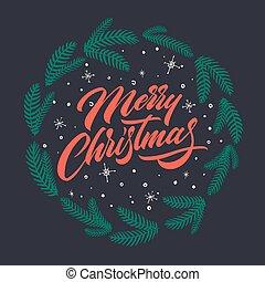 lettering, ter, muito, feliz natal, cartão