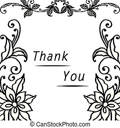 Lettering text thank you, with graphic of wreath frame. Vector