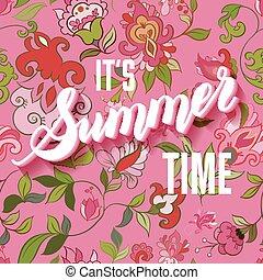 lettering, tijd, informatietechnologie, achtergrond, zomer
