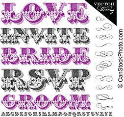lettering, trouwfeest, vector, ouderwetse
