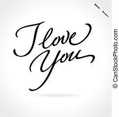 lettering, tu, amor, (vector), mão