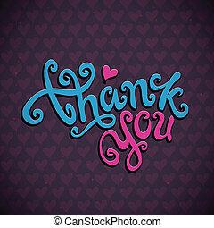 lettering, u, danken, hand