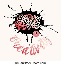 lettering, valentines, liefde, dag, ymbol