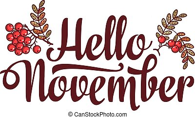 lettering, vender, texto, ou, olá, november., voador,...