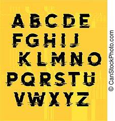 lettering, vervorming, glitch