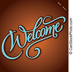 lettering, vetorial, bem-vindo, mão