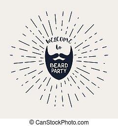 lettering, vetorial, hipster, barba