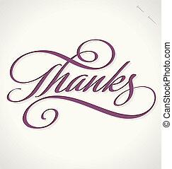 lettering, vetorial, obrigado, mão