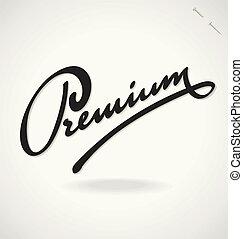 lettering, vetorial, prêmio, mão