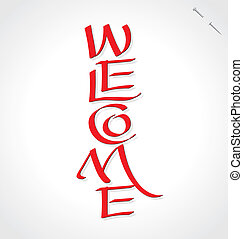 lettering, 'welcome', (vector), hand