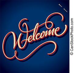 lettering, welkom, (vector), hand