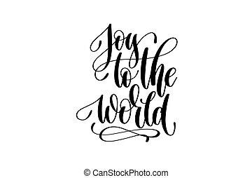 lettering, winter, vreugde, -, hand, ho, noteren, wereld, viering