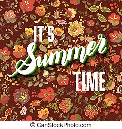 lettering, zomer, informatietechnologie, achtergrond., boho, tijd