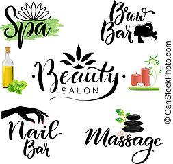 letterings, tema, spa beleza