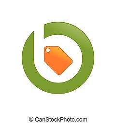 lettermark, initiale, b, étiquette, icône, vendre, coût,...