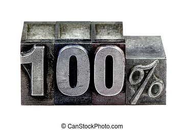 The term 100% in old letterpress printing blocks isolated on a white background.