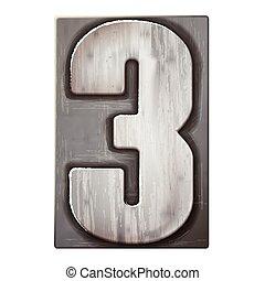letterpress, 3, número, prata, 3d