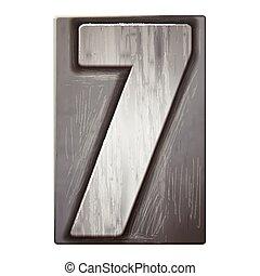 letterpress, 3d, numere 7, prata