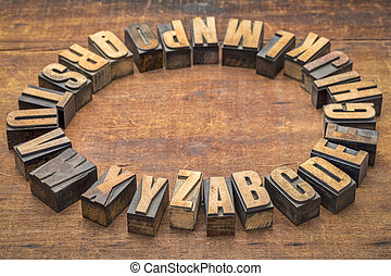 letterpress, alfabet, drewno, rocznik wina, koło, typ