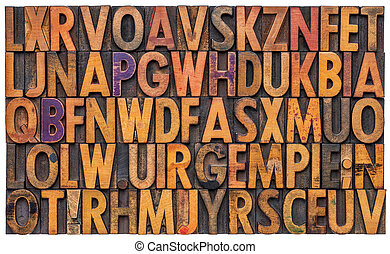letterpress alphabet abstract background
