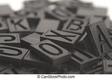 letterpress alphabet and number background