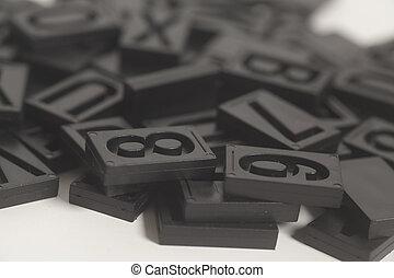 letterpress alphabet and number