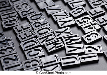 letterpress alphabet and numbers background